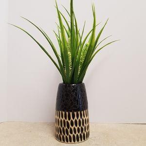 Black and Cream Multi Textured Ceramic Vase